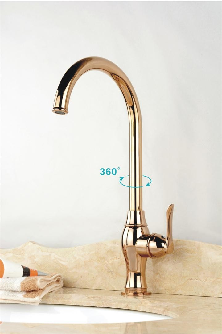 ツfashion Luxury Rose Gold Tall Kitchen Faucet Single Hole Hot - Tall kitchen faucets
