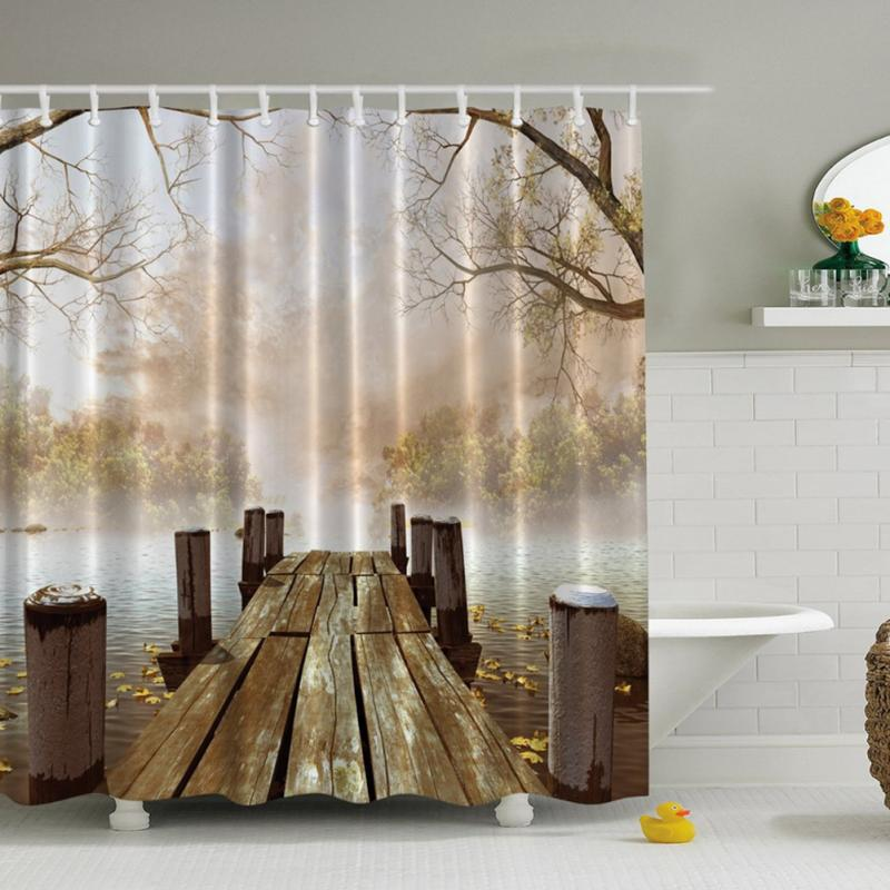 3D Printed Landscape Shower Curtain Decoration Bathroom Waterproof Mildewproof 180180cm With 12 Hooks