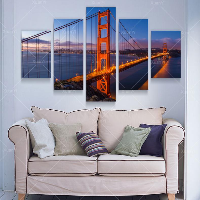 5 panel moderno impreso puente cuadros lienzo pintura al óleo ...