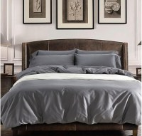 Solid grey Egyptian cotton sheets bedding sets king queen ...
