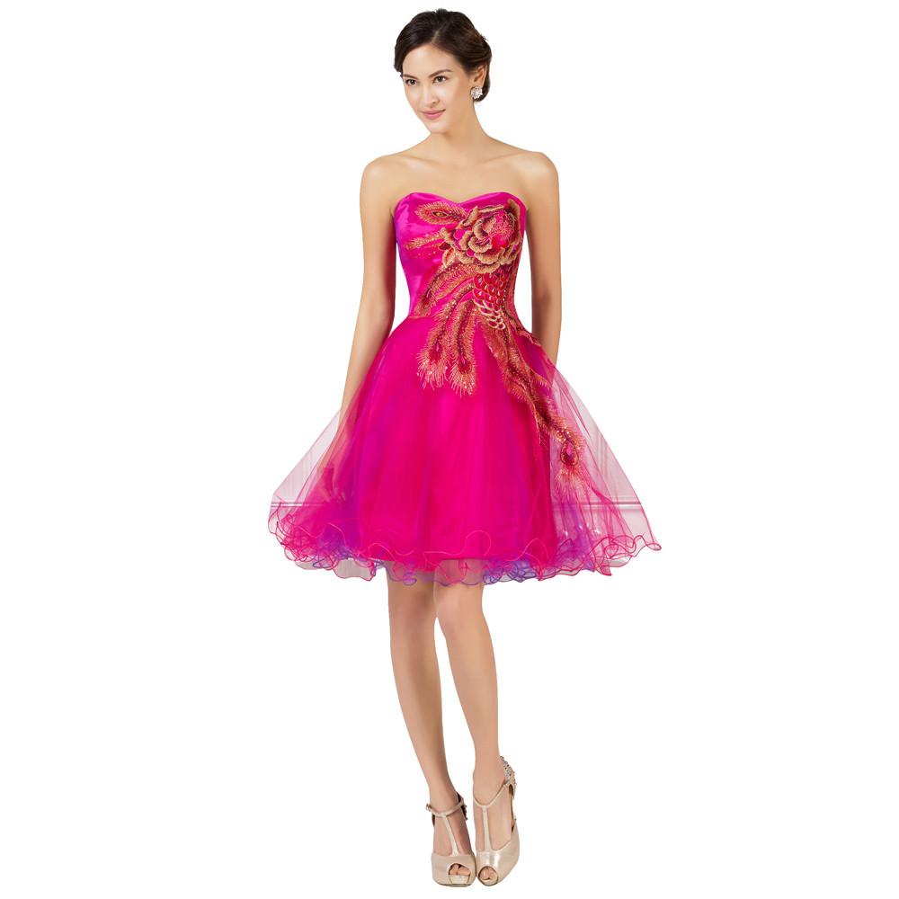 Grace Karin vestido de fiesta corto Pavo Real barato rebordear ...