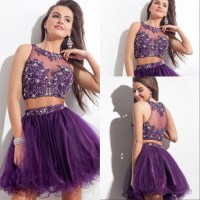 Two Piece Beaded Purple Short Prom Dresses 2015 Sexy ...