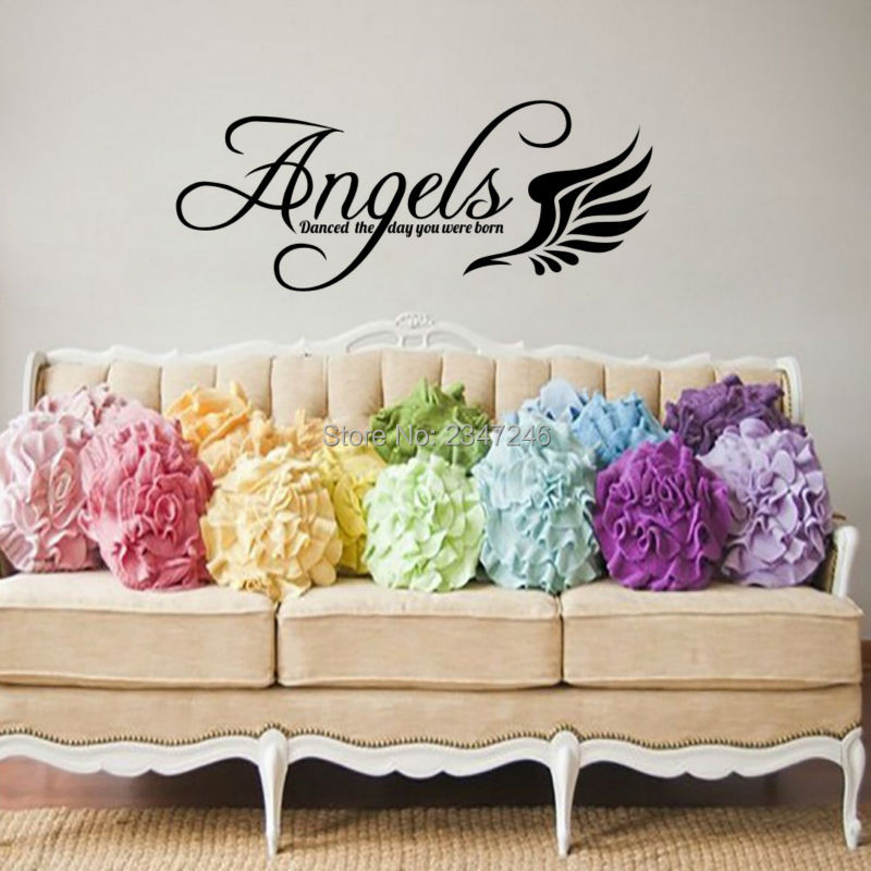 ᗛsweet Wing Quotes Wall Sticker Angels Danced The Day You Were Born