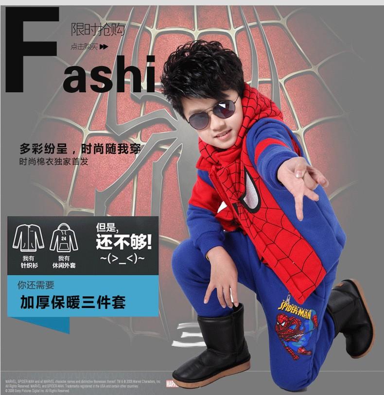 2015 De Inverno Do Homem Aranha Crianças Conjuntos de Vestuário (Casaco  Colete Calça Esporte) e3b88e675188f
