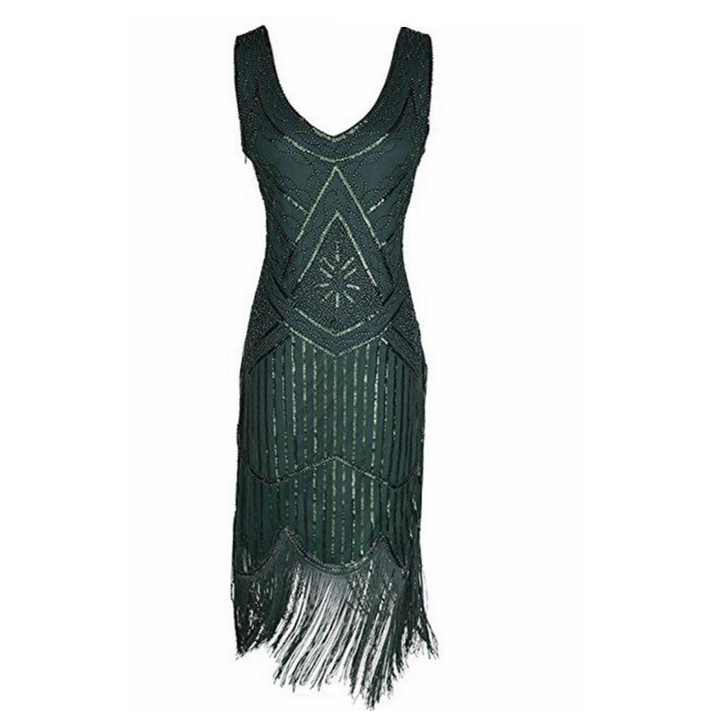 Kleid mit pailletten und fransen
