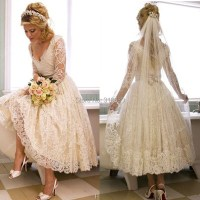 Custom Made V Neck Long Sleeve Dresses Bridal Gown Ankle ...