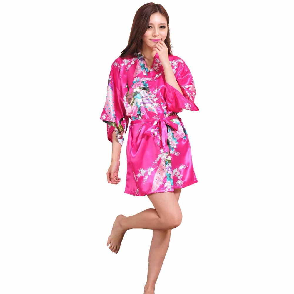 ≧Rosa caliente chino seda rayón robe vestido sexy mini kimono ...
