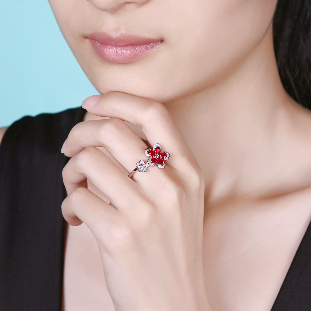 ⑥Caimao 14Kt/585 White Gold 1.33ct Natural Ruby 0.19ct Diamond ...