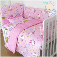 6Pcs Hello Kitty cot bumper baby bed bumper Baby cot set