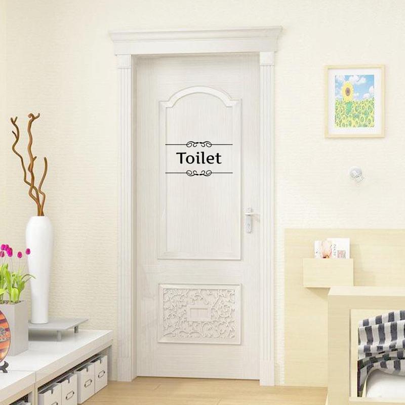 1PCS Vintage Wall Stickers Bathroom Door Decor Toilet Door
