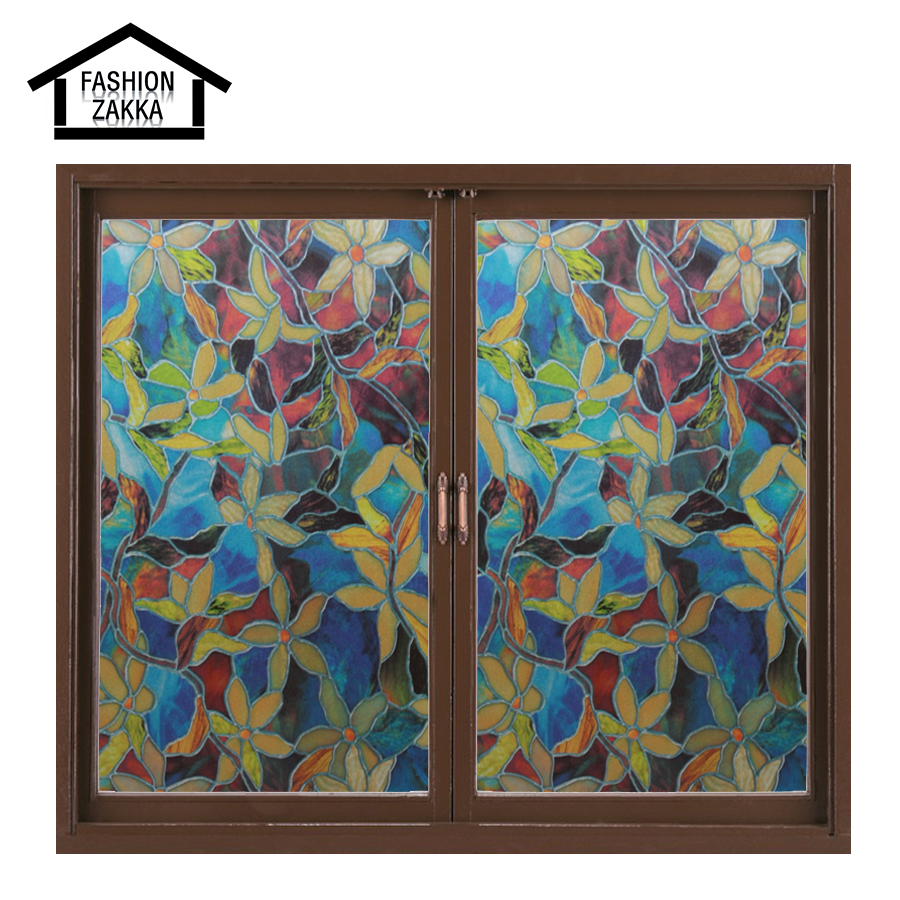Hot Colorful Flowers European Church Style Stained Glass