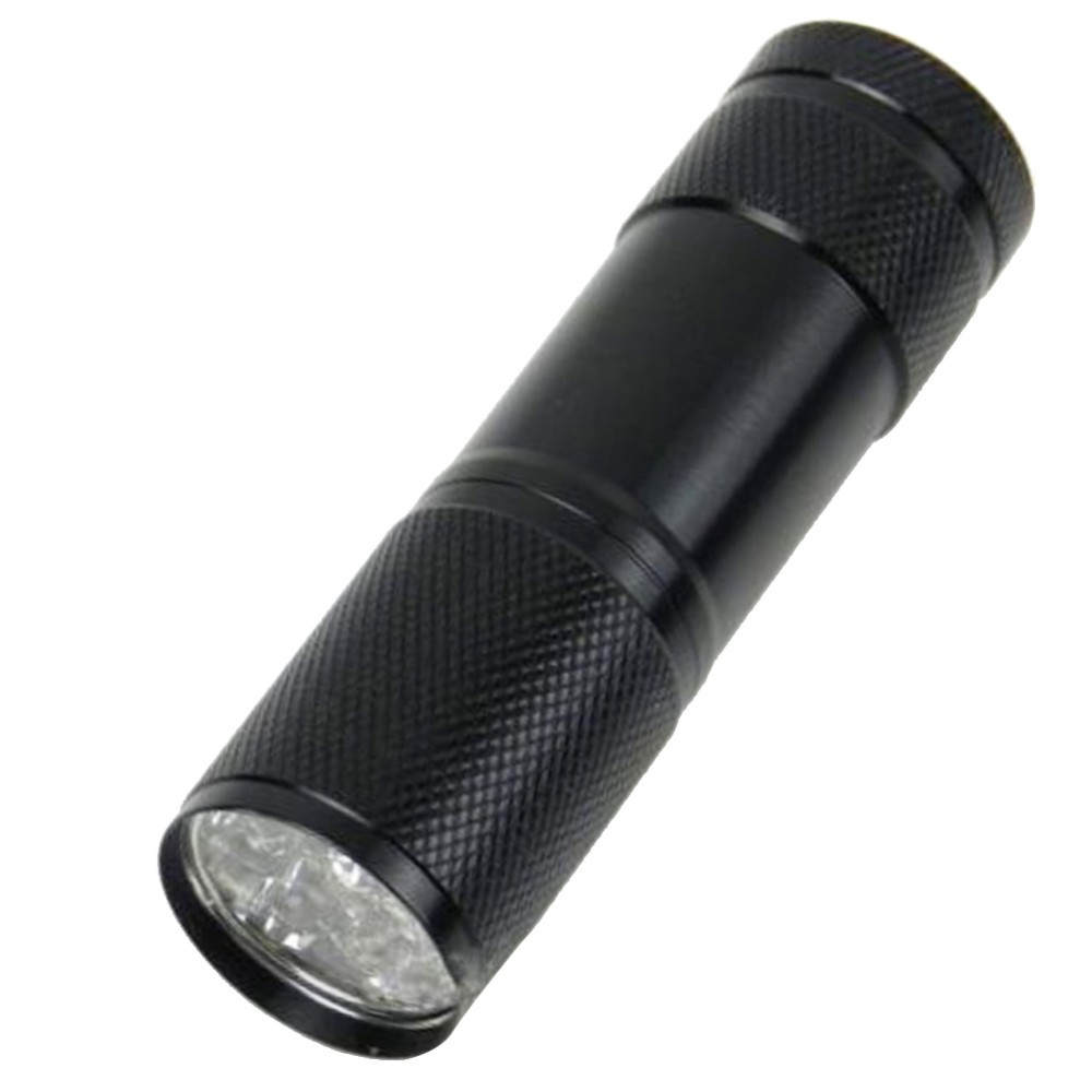 1 PC Black Mini Aluminum Portable Lights UV Ultra Violet Blacklight 9 LED Uv  Flashlight Torch Light Lamp Flashlight VEE07 P30