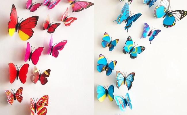 Free Shipping 12pcs Pvc 3d Butterfly Wall Decor Cute
