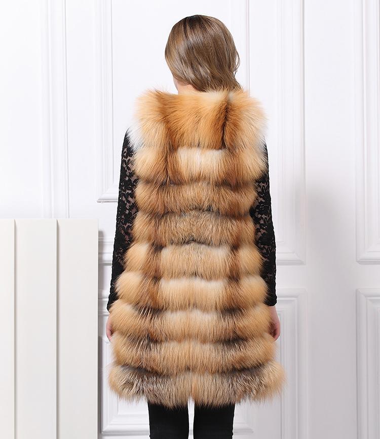 ②La piel verdadera Fox Red Fox largo piel Integral de piel de zorro ... f71096d570f0