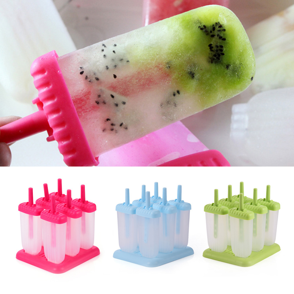 Creativo 6 Cell Ghiacciato Ice Cube Stampi Popsicle Maker Ice Lolly ...