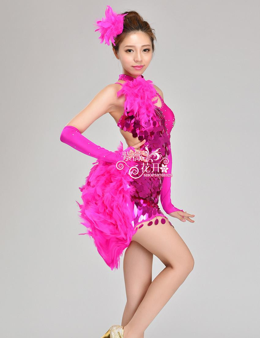 ̀ •́ Chica pluma Latino danza personalizar mujer sequined cha/rumba ...