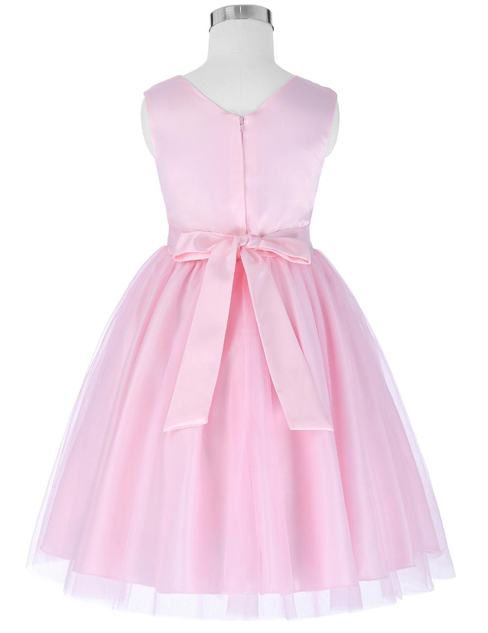 ①Tul balón vestido largo Vestidos de flores de niña para la fiesta ...