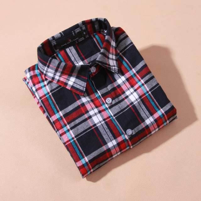 Блузки рубашки женщины плед хлопок блузки женщины С Длинным рукавом женские топы дешевая одежда китай зима Осень блузка и рубашка