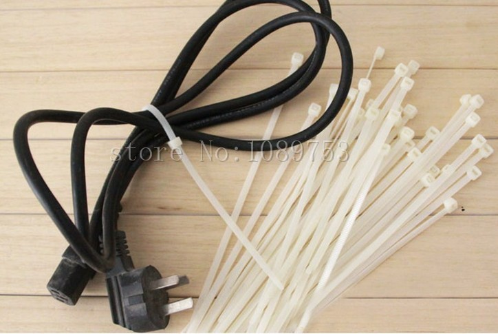 ≧500pcs White 4x200mm Locking Nylon Plastic Cable Wire Zip Ties ...