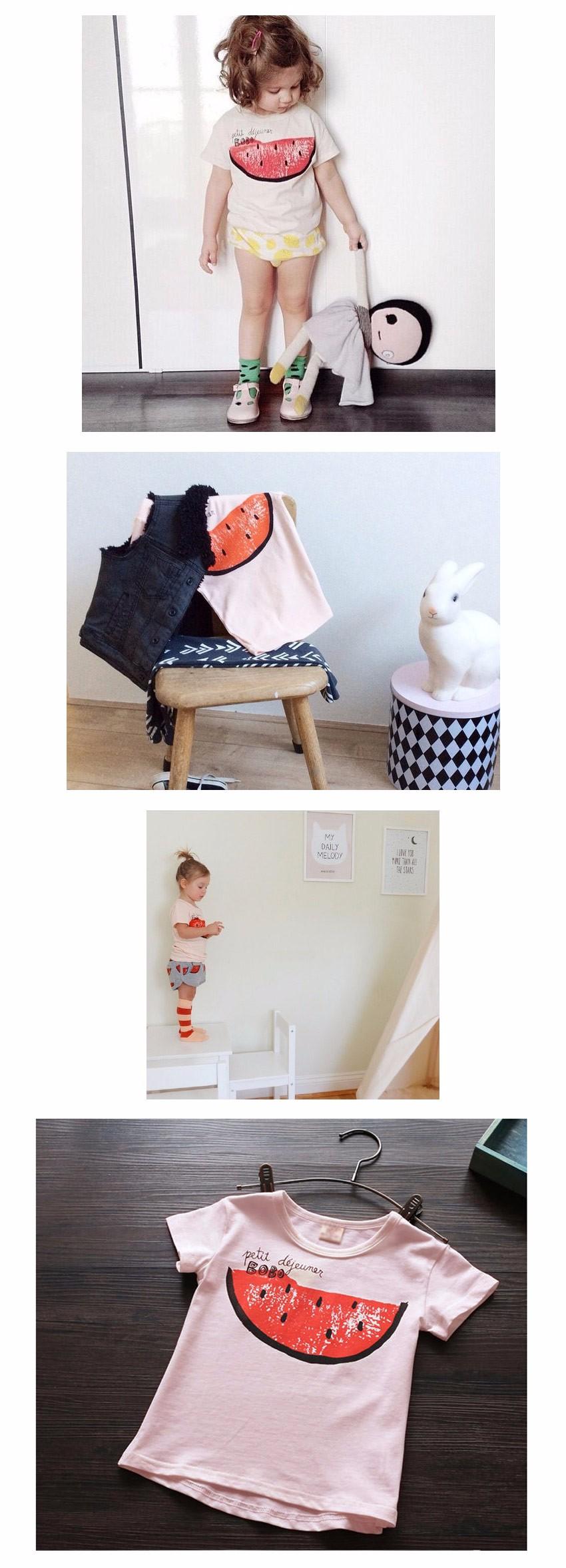ОформРение арбуз девушка футбоРки короткий рукав детская одежда