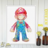 Original Watercolor Super Mario Japanese Game Poster Print ...