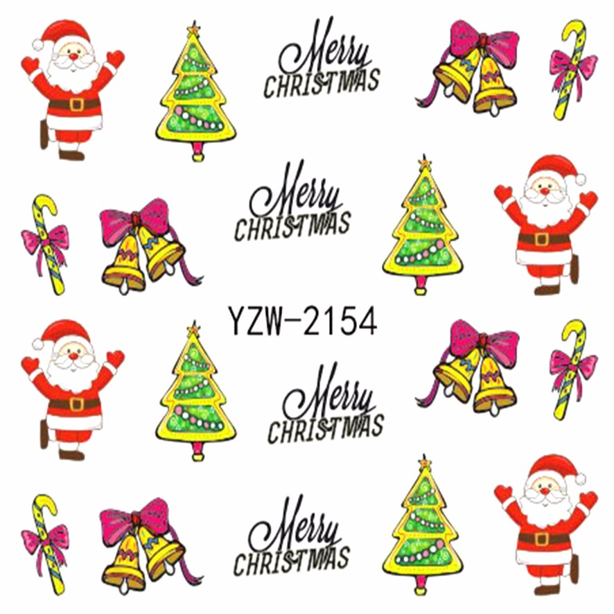 Fwc Nail Art Water Decals Black Christmas Stickers Water Transfer