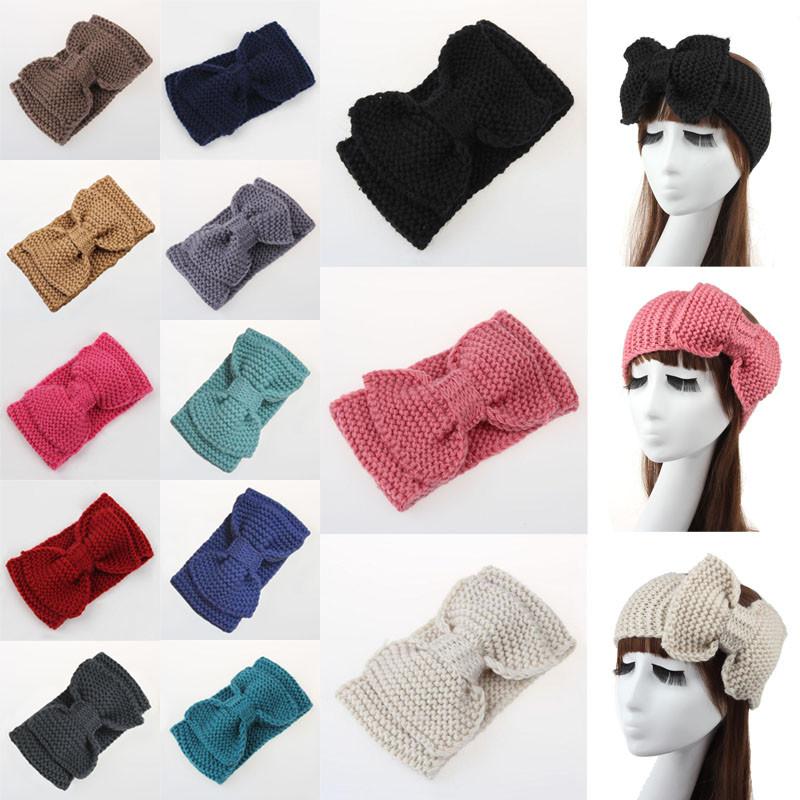 ộ_ộ ༽Mujeres de punto bowknot Headband crochet turbante arco de ...