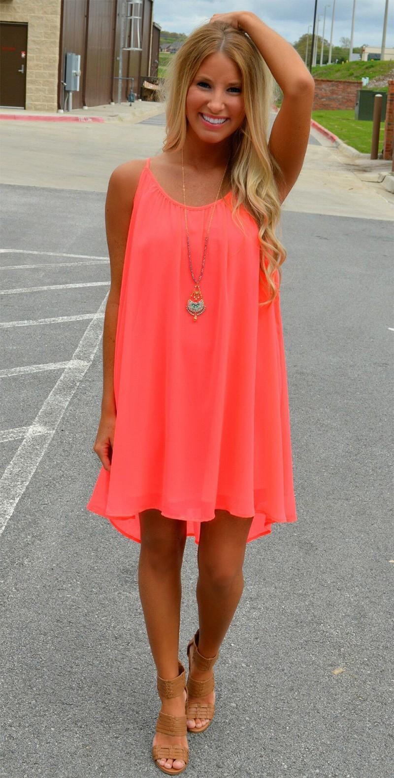 Women Beach Dress Fluorescence Summer Chiffon Female