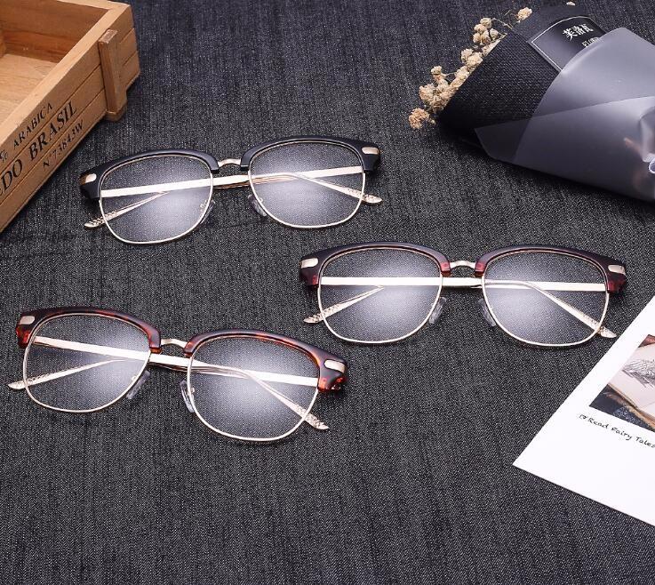 Dos Homens do Estilo Retro do vintage Preto Óculos de Armação Simples  Óculos Frame Ótico Óculos de Marca Fashion Designer Mulheres Prego Decration 5c9b802028