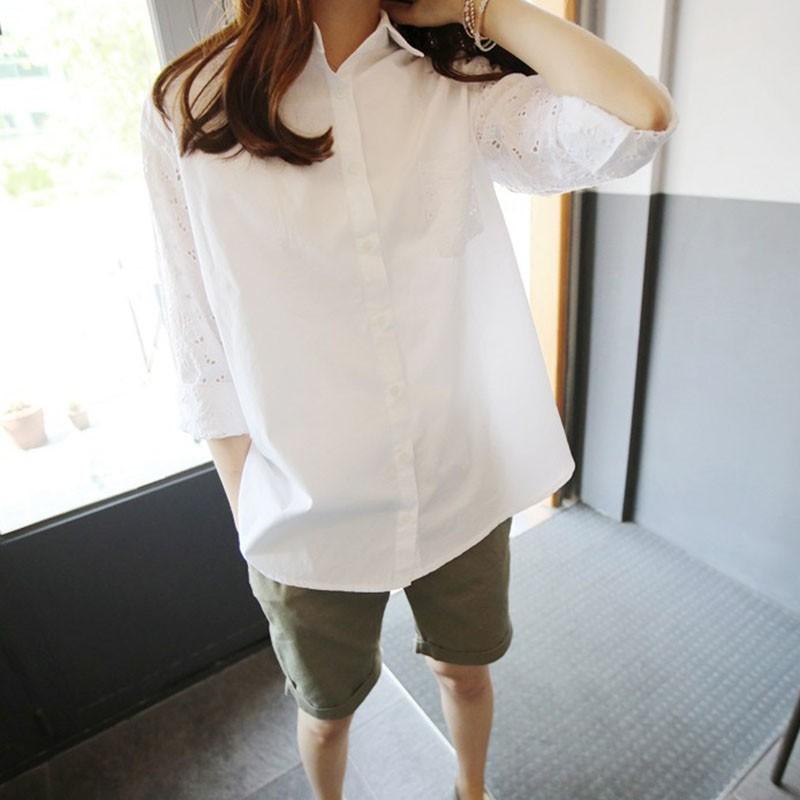 ᗑ Для женщин  хлопок ПР рубашка с длинным рукавом отложной ... b871fb49e22d1