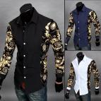Black and Gold Casual Dress Shirts for Men
