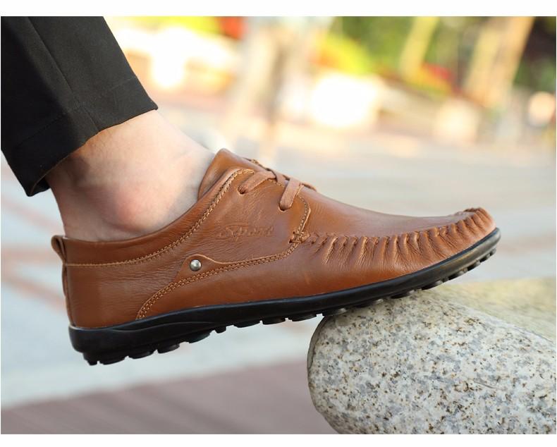 1bb70e5b105 Homens De Couro genuíno Apartamentos Sapatos
