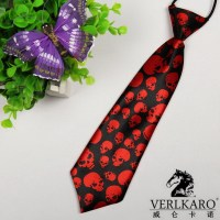 VERLKARO Super Cool Boy's Tie Neckties Red Skull Pattern ...