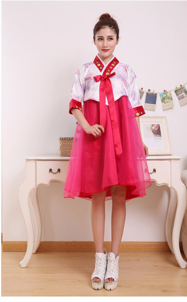 ᐂMujeres cortas vestido hanbok traje tradicional coreano femenina ...