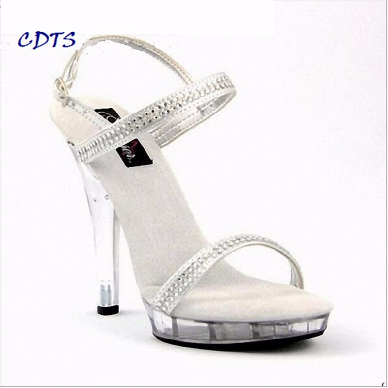 5b9776bf7d7b CDTS wedding bride shoes women 2016 summer zapatos mujer 13cm thin heels  Crystal platform Sandals pumps Free shipping Plus 35-46