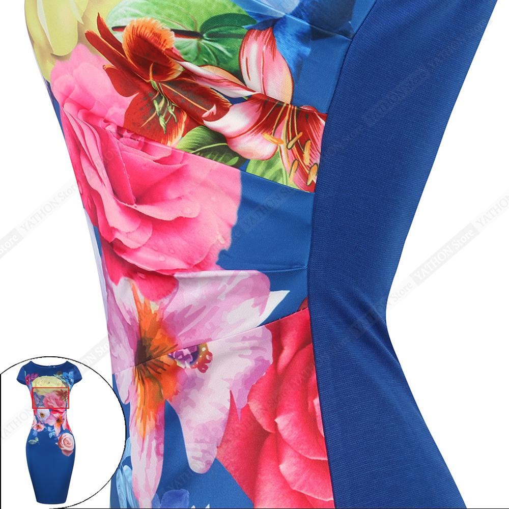 NºYATHON Estampado floral de Trabajo de Oficina Casual Vestido ...