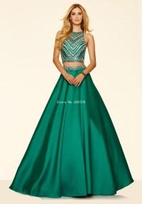 Satin Two Piece Prom Dress Royal Blue 2015 Cheap Evening ...