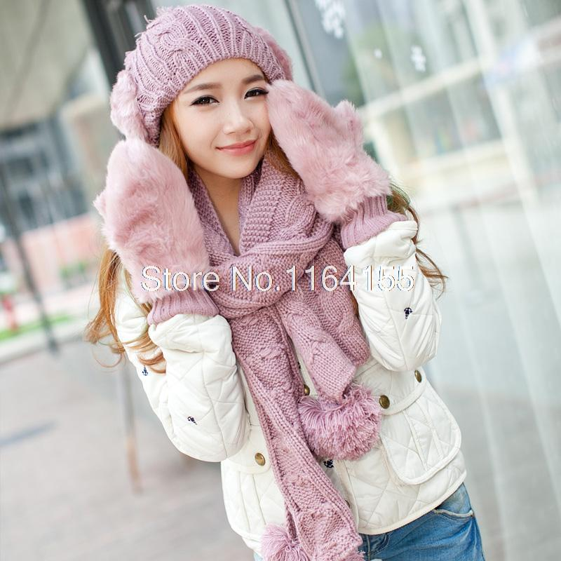 Hat Scarf and Gloves set winter Birthday Christmas Gift