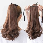 synthetic long curly clip false