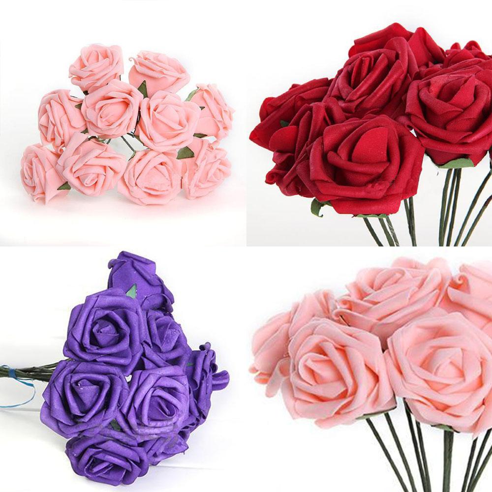 ⑤Caliente 10 unids 6,7 cm flores artificiales espuma Rose Bouquet ...