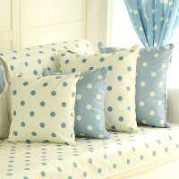Blue with White Polk Dots Pillowcase Korean Throw Pillow ...
