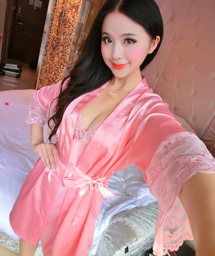 d5ee9808ccb ộ ộ ༽2018 summer Women Silk Nightdress Set of Robe   Nightgown Lady ...