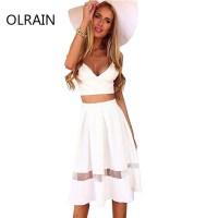Women White Spaghetti Strap Two Piece Set Dress Fashion ...
