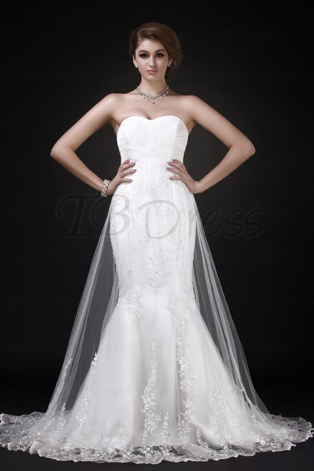 White Charming Mermaidtrumpet Sweetheart Neckline Chapel