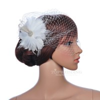 New Flower Feather Wedding Birdcage Veil Bridal Hair ...