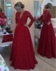 Red Long Sleeve Prom Dresses
