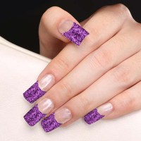 Gallery For > Purple Glitter Nail Tips