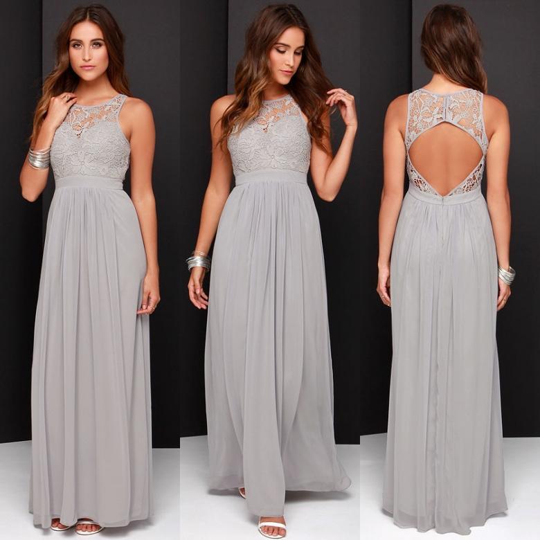 2016 Spring Grey Chiffon Lace Bridesmaid Dresses Long A
