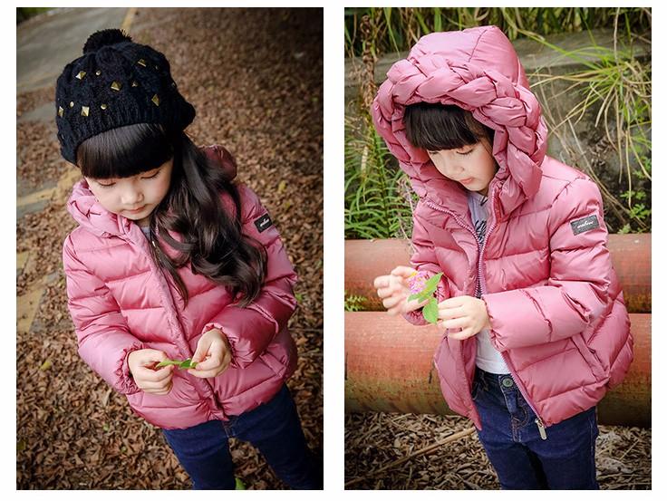 97872dc37a7e Модные куртки для девочек пальто на утином пуху с капюшоном зимние детские  пальто теплая куртка верхняя одежда для детей от 2 до 8 лет