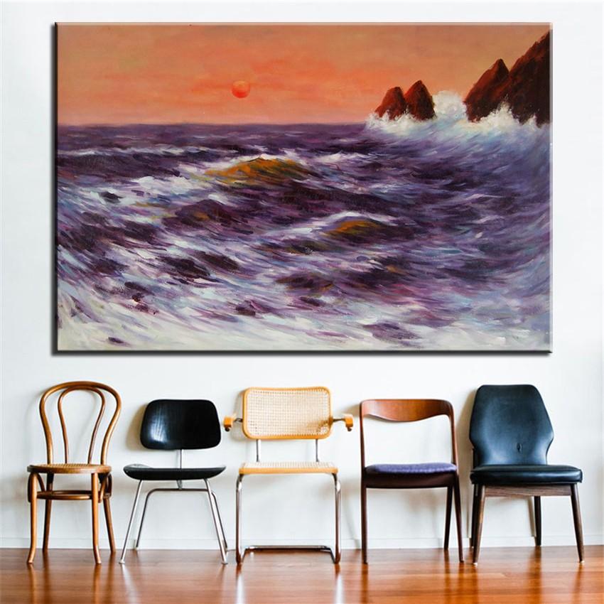 ✅Sin marco impreso vintage océano paisaje Pintura sobre tela ...